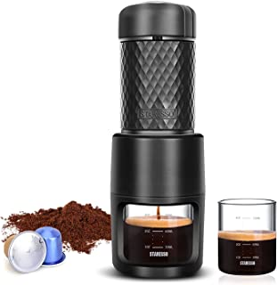 STARESSO اسپرسو قابل حمل، نسخه ارتقا نسخه اسپرسو ماشین آلات، فشار 20 بار برای کپسول و قهوه زمین، Reddot برنده جایزه FDA تایید شده، ایده آل برای سفر کمپینگ آشپزخانه