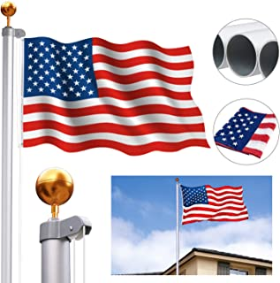 CharaHome 25FT Sectional Flag Pole Kit Aluminum Halyard Flag Pole Free 3'x5' American Flag & Golden Ball Top Kit Flagpole Hardwarefor Commercial or Residential Ground PVC Sleeve Outdoor Garden