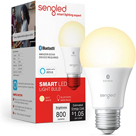 Sengled BLE Smart Bulb, Works with only Alexa, Bluetooth Mesh Smart Light Bulb, Dimmable LED Light, 800LM, Soft White 2700K, 60W Equivalent, Certified for Humans Device, 1-Pack