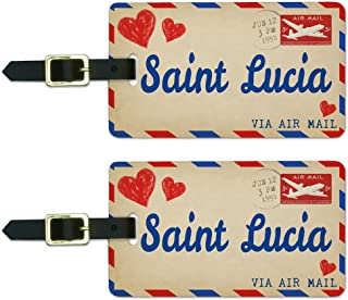Graphics & More Air Mail Postcard Love for Saint Lucia Luggage Suitcase Id Tags, White