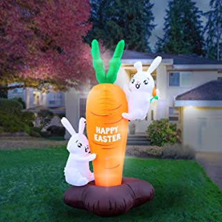 Holidayana 8 Foot Inflatable Easter Bunny Climbing Carrot Decoration, Includes Built-in Bulbs, Tie-Down Points, and Powerful Built-in Fan