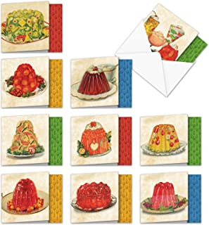 10 Assorted All Occasions Blank Note Cards 'Marvelous Gelatin Molds' w/Envelopes 4 x 5.12 inch - Images of Delicious Jell-O Desserts and Colorful Fruits - Assortment Box of Notecards MQ4945OCB-B1x10