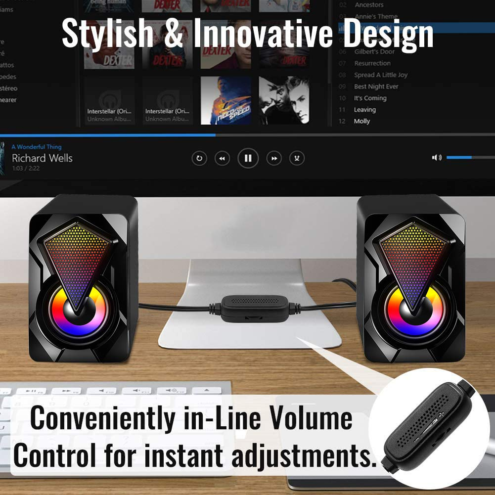 Computer Speakers,Wired PC Speaker 2.0 USB Gaming Powered Stereo Mini Multimedia Volume Control with RGB Lights 3.5mm Aux Input for Phone Tablets Desktop Laptop