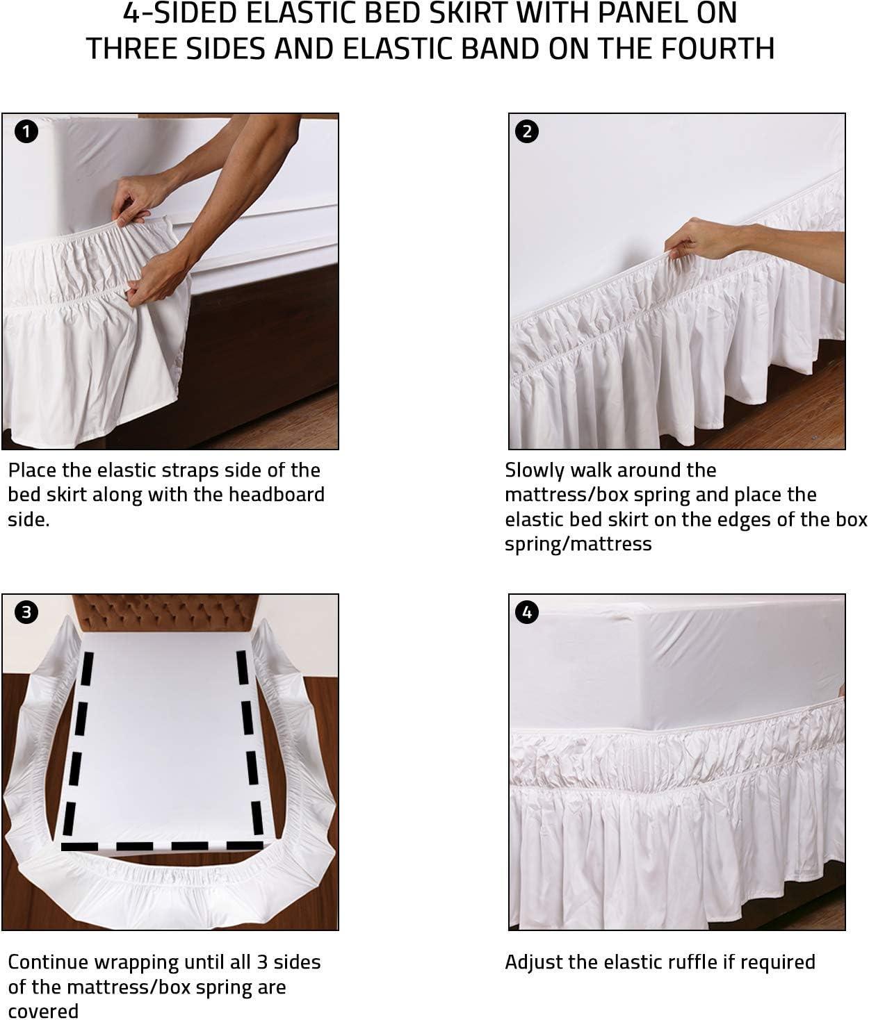 Extra Profondo Utopia Bedding Elastico Mantovana da Letto con Balza Adatto a Goccia 40 cm 135 x 190 cm, Bianco -