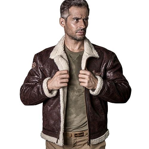 cc29716de78 FREE SOLDIER Men s Classic Jacket Fleece Warm Leather Fur Pilot Jacket