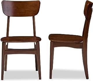 Baxton Studio Set of 2 Netherlands Mid-Century Modern Scandinavian Style Dark Walnut Bentwood Dining Side Chairs