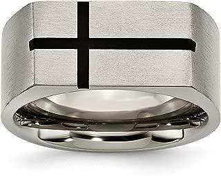 Titanium 10mm Black Enamel Cross Religious Brushed Wedding Ring Band Designed Fashion Jewelry for Women Gift Set
