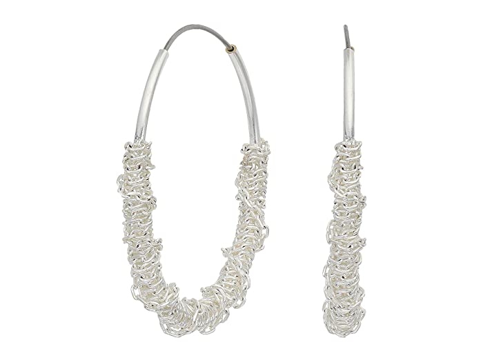 Lucky Brand  Chain Wrapped Hoop Earrings (Silver) Earring