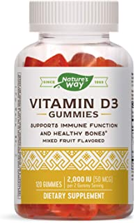 Nature's Way Nature's Way Vitamin D3 Gummies, Immune Function*, 2000 IU (50 mcg) per 2 Gummy Serving, Mixed Flavored, Vege...