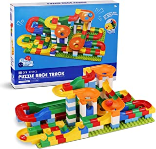Marble Run Building Blocks 176 Piece,Marble Race Track for 3+ Year Old Boys and Girls,Marble Roller Coaster Construction T...
