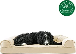 Furhaven Pet Dog Bed   Orthopedic Plush Faux Fur & Suede Sofa-Style Traditional Living Room Couch Pet Bed w/ Removable Cover for Dogs & Cats - Available in Multiple Colors & Styles