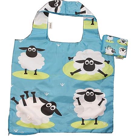 Chilino Schaf Faltbare Einkaufstasche, groß und stabil, umweltfreundlich, Polyester, blau, 47 x 41 cm