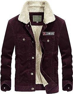 Lentta Mens Winter Slim Short Military Sherpa Lined Corduroy Trucker Jacket Coat