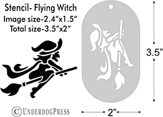 Stencil- Flying Witch, 2.4x1.5 Inch Image on 3.5x2 Border, Size 1
