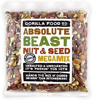 """Absolute Beast"" Premium Unsalted Mixed Nuts and Seeds Raw Megamix - 2 Pound Resealable Bag"