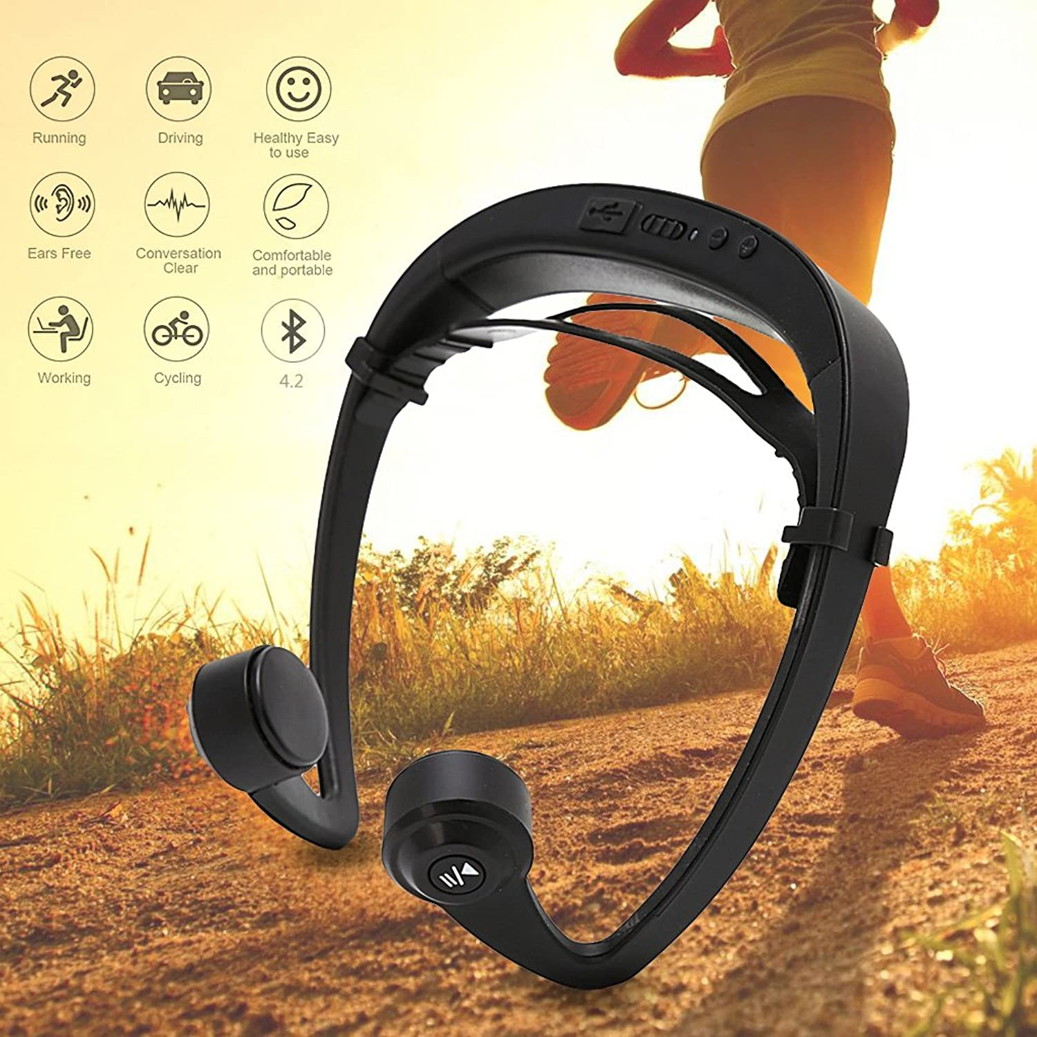 Yumian blueeetooth Headphones, V9 Ear Hook Bone Conduction blueeetooth 4.2 Sports Headphone Headset With Mic