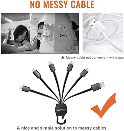 Multi Charging Cable 5.3 inch,CHAFON 6 in 1 USB Charger Cord,Dual Type C,1xMicro USB Connectors Repl…