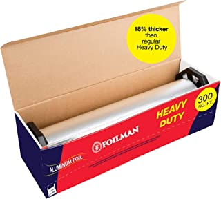 "Ultra-Thick Heavy Duty Household Aluminum Foil Roll (12"" x 300 Square Foot Roll) with Sturdy Corrugated Cutter Box - Heavy..."