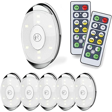 2 Remote Control 6X Wireless RGB Puck Light Dimmable LED Under Cabinet Lighting