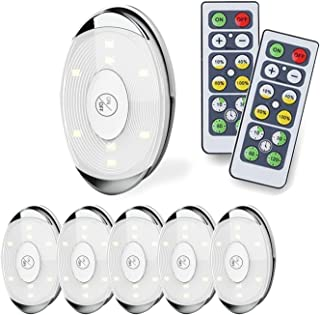 RGBW Under Cabinet Light Set, Color Changing and Battery Powered LED Puck Light W/Remotes (6 Pack), White 0.50W, 4.50V