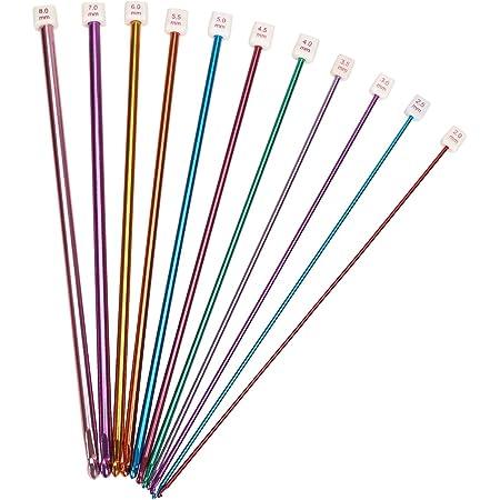 Lot de 11aiguilles à crochet tunisien/afghan en aluminium, multicolores, 2à 8mm.