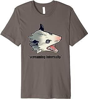 Funny Angry Possum Screaming Internally Joke Quote Meme Premium T-Shirt