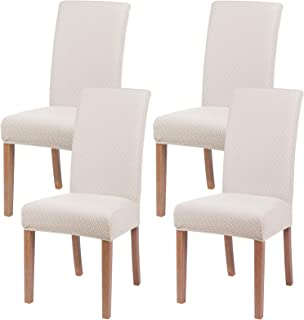 smiry Stretch Dining Room Chair Covers Soft Removable Dining Chair Slipcovers Set of 4, Beige
