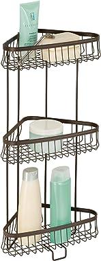 iDesign York Metal Wire Corner Standing Shower Caddy 3-Tier Bath Shelf Baskets for Towels, Soap, Shampoo, Lotion, Accessories, Bronze