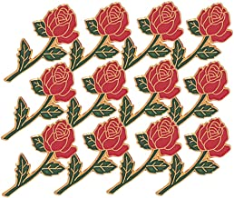 7/8 Inch Red Long Stem Rose Lapel Pin - Package of 12, Poly Bagged