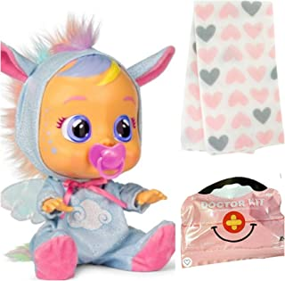 Joyful Noises Cry Babies Exclusive Jenna Pegasus Doll with 5 pc Medical Doctor Pretend Play Kit and Fleece Blanket