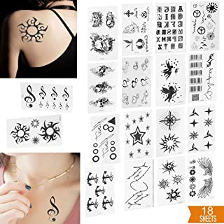 Micropromo 18 Sheets Fashion Black Unisex Pattern Removable Premium Waterproof Temporary Tattoo Body Art Stickers Various ...