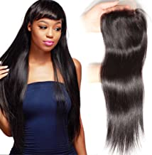 Unice Hair Malaysian Straight Virgin Human Hair Free Part 4X4 Lace Closure Natural Color (16inch, Free part)