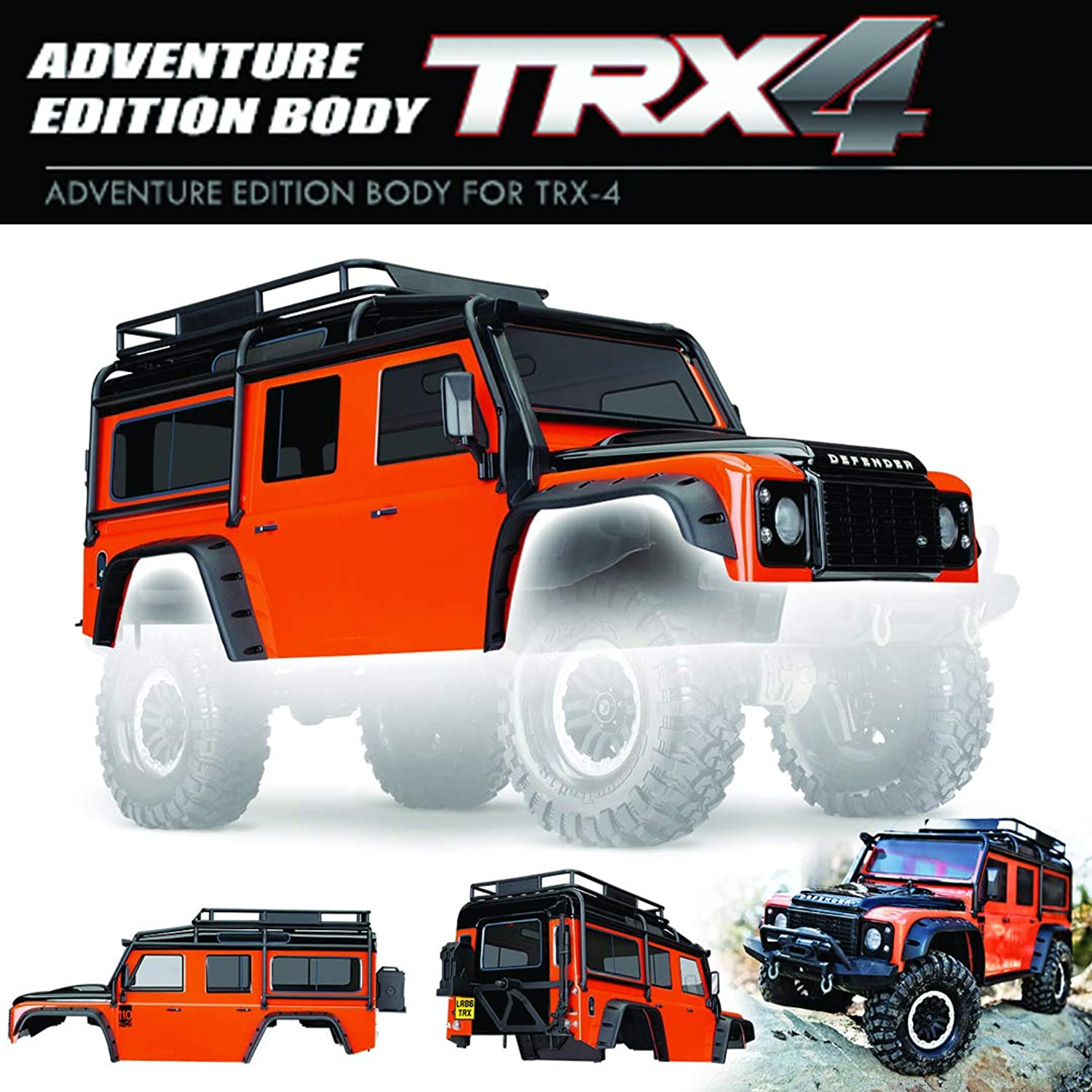TRAXXAS Body, Land Rover Defender, Adventure orange w  ExoCage, fend (TRX8011A)