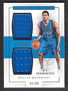 2016-17 Panini National Treasures Basketball Rookie Dual Jersey #13 A.J. Hammons 45/60 Dallas Mavericks