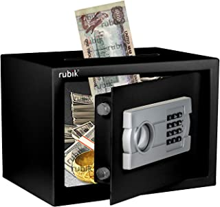 Rubik Safe Box with Cash Deposit Drop-In Slot on Top A4 Document Size for Home Office (25x35x25cm) Black