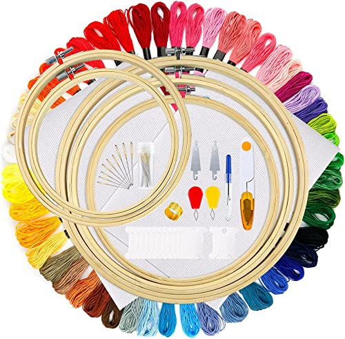 OPount 77 Pieces Full Range of Cross Stitch Starter Kit with 5 Pieces Embroidery Hoop, 50 Color Embroidery Thread, 2 ...