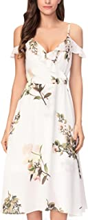 Noctflos Women's Summer Floral Cold Shoulder Midi Dress for Casual Cocktail Wedding Guest