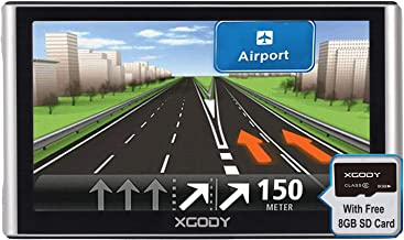 Xgody 16GB Truck Car GPS Navigation System 7 Inch Capacitive Touch Screen Navigator Support Hands-Free Calling Advanced Lane Guidance Red Light Warning Lifetime US/Canada/Mexico Maps Updates