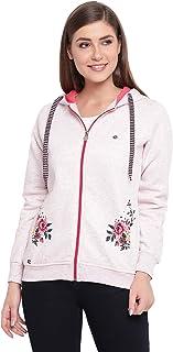 Fabnest Women's Hosiery Winter Wear Floral Print Hoodie Sweatshirt