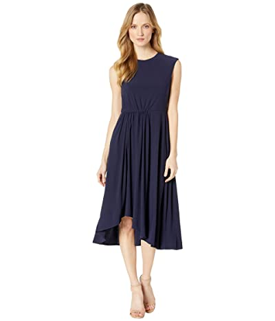 Maggy London Jewel Neck Crepe Fit and Flare with Pleated Skirt Detail (Night Sky) Women