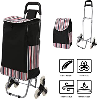 Hosmat Folding Shopping Cart All Terrain Stair Climbing Cart with Removable Waterproof Canvas Bag for Laundry, Grocery, Shopping and Sport Events - 150lbs Capacity