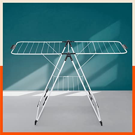 Bathla Mobidry Neo - Foldable Clothes Drying Stand with Weather Resistant Frame (Charcoal Black) | Made in India