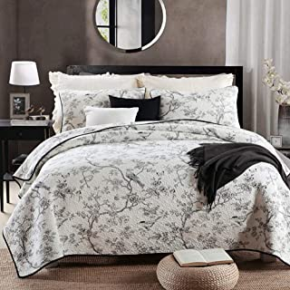vctops Floral Bird Printed Cotton Quilted Bedspread Quilt Sets 3 Pieces Reversible Coverlet Set, Classic Bohemian Pattern, Flower Bird Queen Size
