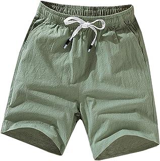 Lentta Mens Casual Elastic Waist Drawstring Cotton Linen Summer Beach Bermuda Shorts (Green01, XL)