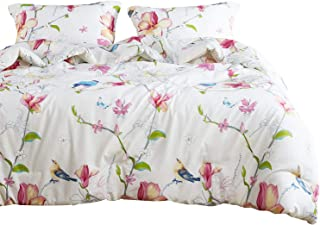 Wake In Cloud - Floral Comforter Set, Botanical Flowers and Birds Pattern Printed,100% Cotton Fabric with Soft Microfiber Inner Fill Bedding (3pcs, King Size)