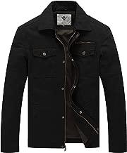 WenVen Men's Casual Canvas Cotton Military Lapel Jacket