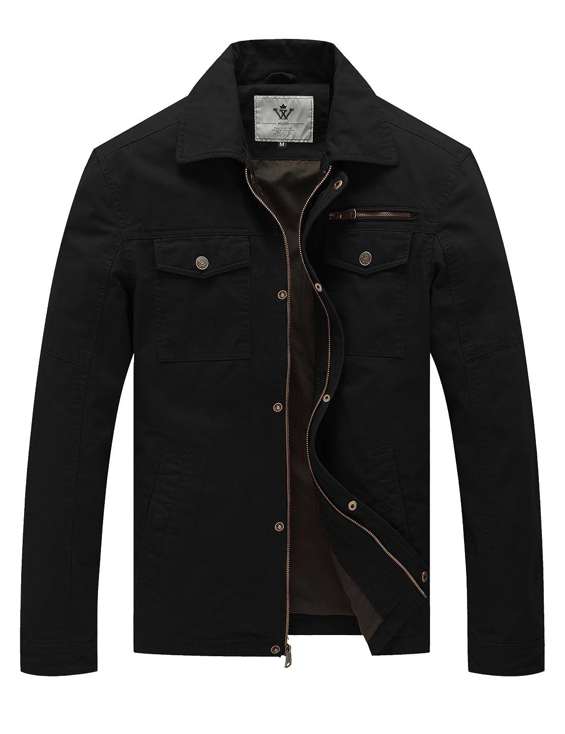 WenVen Men's Spring Canvas Cotton Military Lapel Jacket