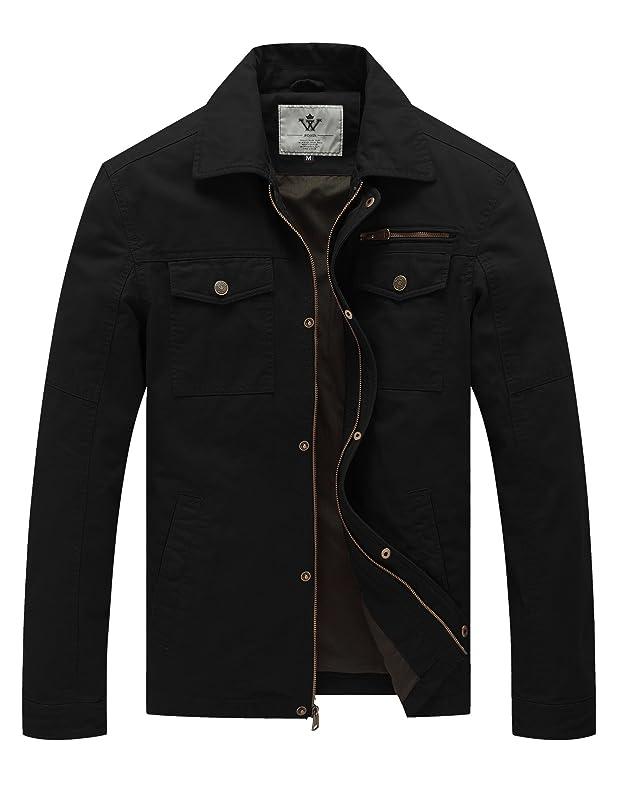 WenVen Men's Spring Canvas Cotton Military Lapel Jacket keajgoon955419