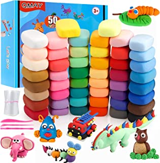 Modeling Clay Kit - QMAY 50 Colors Air Dry Ultra Light Magic Clay, Soft & Stretchy DIY Molding Clay with Sculpting Tools, ...