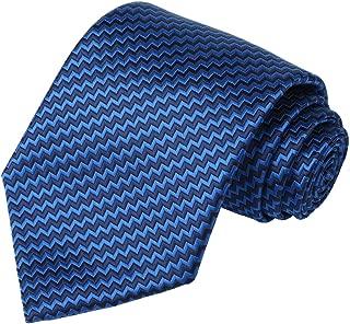 Tall Men Navy Extra Long Tie Blue Striped Necktie + Gift Box(63'' XL)